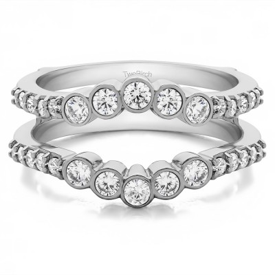0.7 Ct. Bezel and Shared Prong Curved Ring Guard