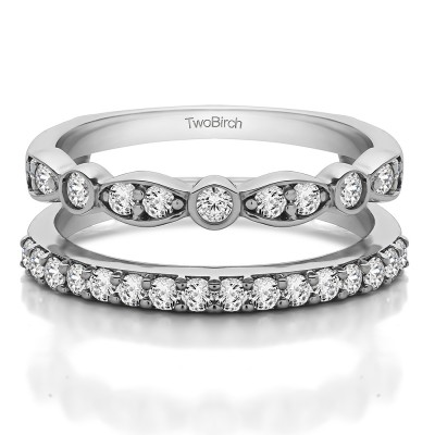Sterling Silver Mixed Classic and Contemporary Ring Guard With Brilliant Moissanite (0.7 ct.) (Size 6.5)