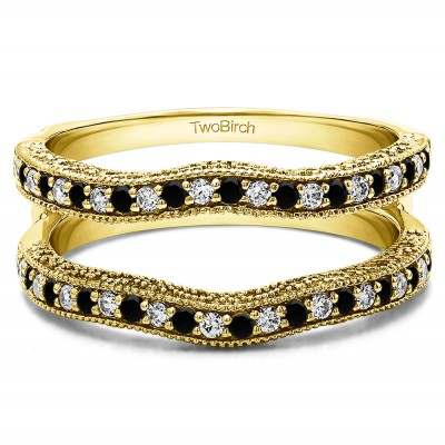 0.26 Ct. Black and White Stone Contour Ring Guard with Millgrained Edges and Filigree Cut Out Design in Yellow Gold