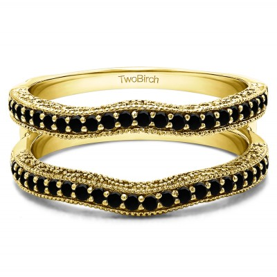 0.26 Ct. Black Stone Contour Ring Guard with Millgrained Edges and Filigree Cut Out Design in Yellow Gold