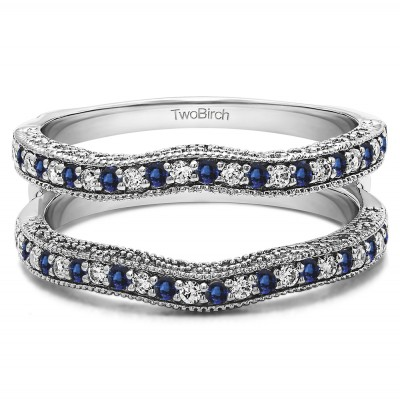 0.26 Ct. Sapphire and Diamond Contour Ring Guard with Millgrained Edges and Filigree Cut Out Design