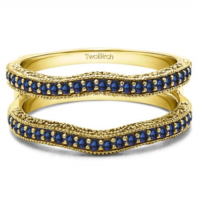 0.26 Ct. Sapphire Contour Ring Guard with Millgrained Edges and Filigree Cut Out Design in Yellow Gold
