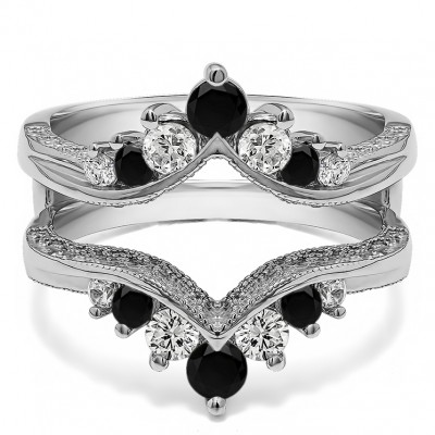0.74 Ct. Black and White Stone Chevron Vintage Ring Guard with Millgrained Edges and Filigree Cut Out Design