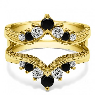 0.74 Ct. Black and White Stone Chevron Vintage Ring Guard with Millgrained Edges and Filigree Cut Out Design in Yellow Gold