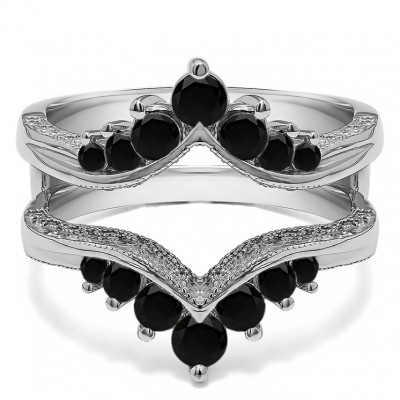 0.74 Ct. Black Stone Chevron Vintage Ring Guard with Millgrained Edges and Filigree Cut Out Design