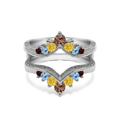 Genuine Birthstone Chevron Style Ring Guard with Millgrained Edges and Filigree Cut Out Design (0.74 Carat)