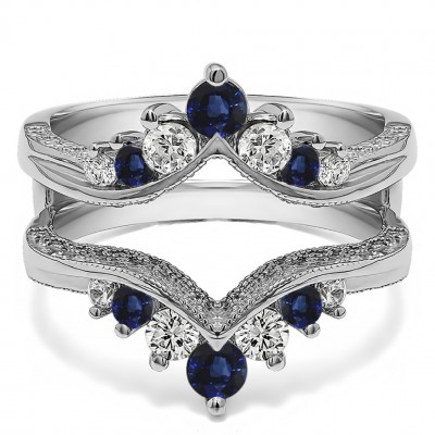 0.74 Ct. Sapphire and Diamond Chevron Vintage Ring Guard with Millgrained Edges and Filigree Cut Out Design