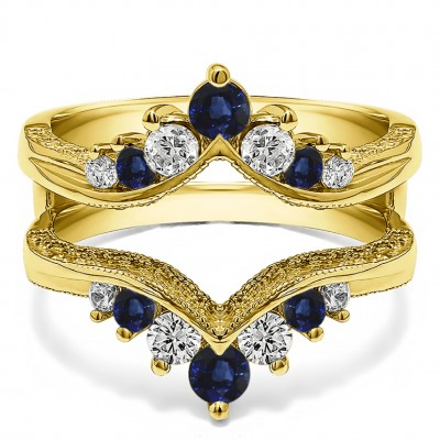 0.74 Ct. Sapphire and Diamond Chevron Vintage Ring Guard with Millgrained Edges and Filigree Cut Out Design in Yellow Gold