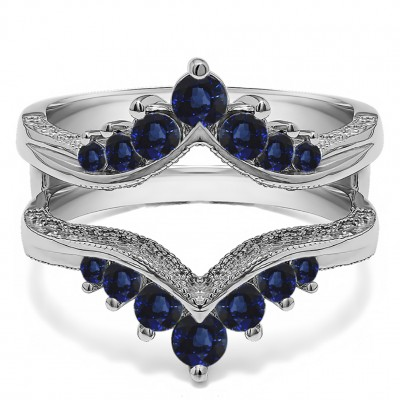 0.74 Ct. Sapphire Chevron Vintage Ring Guard with Millgrained Edges and Filigree Cut Out Design