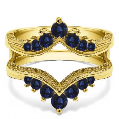 0.74 Ct. Sapphire Chevron Vintage Ring Guard with Millgrained Edges and Filigree Cut Out Design in Yellow Gold