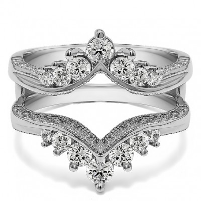 0.74 Ct. Chevron Vintage Ring Guard with Millgrained Edges and Filigree Cut Out Design