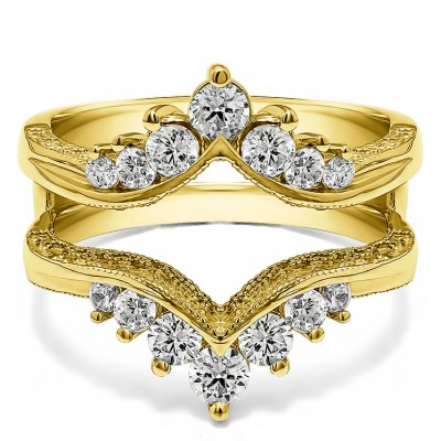 0.74 Ct. Chevron Vintage Ring Guard with Millgrained Edges and Filigree Cut Out Design in Yellow Gold