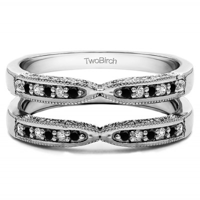 0.24 Ct. Black and White Stone X Design Ring Guard with Millgrain and Filigree Detailing