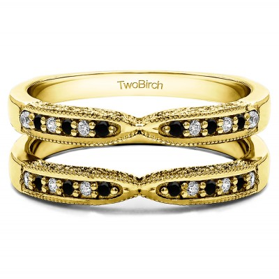 0.24 Ct. Black and White Stone X Design Ring Guard with Millgrain and Filigree Detailing in Yellow Gold