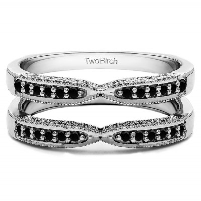 0.24 Ct. Black Stone X Design Ring Guard with Millgrain and Filigree Detailing