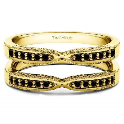 0.24 Ct. Black Stone X Design Ring Guard with Millgrain and Filigree Detailing in Yellow Gold