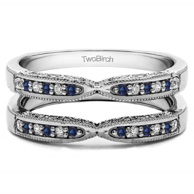 0.24 Ct. Sapphire and Diamond X Design Ring Guard with Millgrain and Filigree Detailing