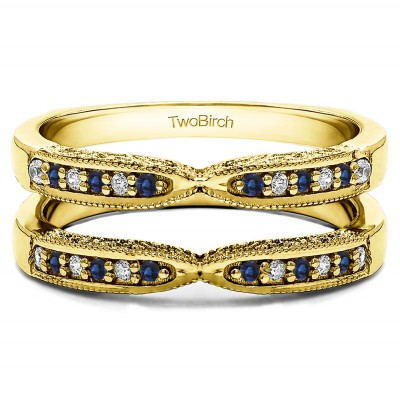 0.24 Ct. Sapphire and Diamond X Design Ring Guard with Millgrain and Filigree Detailing in Yellow Gold