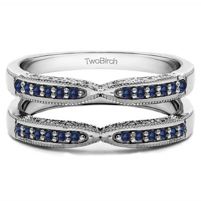 0.24 Ct. Sapphire X Design Ring Guard with Millgrain and Filigree Detailing