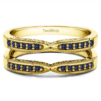 0.24 Ct. Sapphire X Design Ring Guard with Millgrain and Filigree Detailing in Yellow Gold