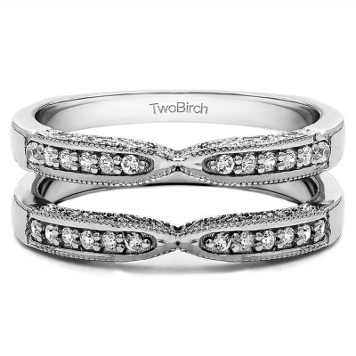 0.24 Ct. X Design Ring Guard with Millgrain and Filigree Detailing