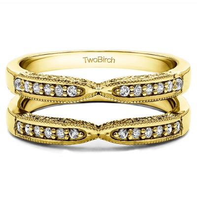 0.24 Ct. X Design Ring Guard with Millgrain and Filigree Detailing in Yellow Gold