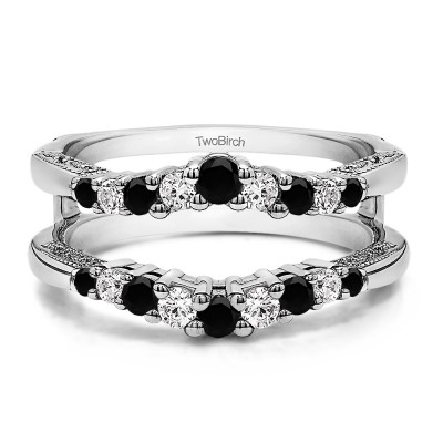 0.71 Ct. Black and White Stone Vintage Ring Guard with Filigree Designs