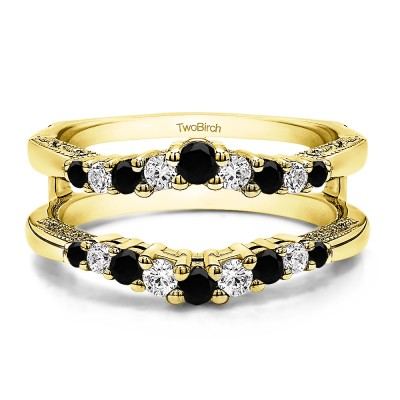 0.71 Ct. Black and White Stone Vintage Ring Guard with Filigree Designs in Yellow Gold
