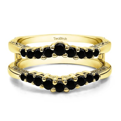 0.71 Ct. Black Stone Vintage Ring Guard with Filigree Designs in Yellow Gold
