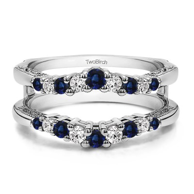 0.71 Ct. Sapphire and Diamond Vintage Ring Guard with Filigree Designs