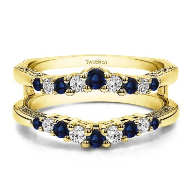 0.71 Ct. Sapphire and Diamond Vintage Ring Guard with Filigree Designs in Yellow Gold