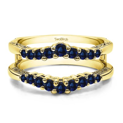 0.71 Ct. Sapphire Vintage Ring Guard with Filigree Designs in Yellow Gold