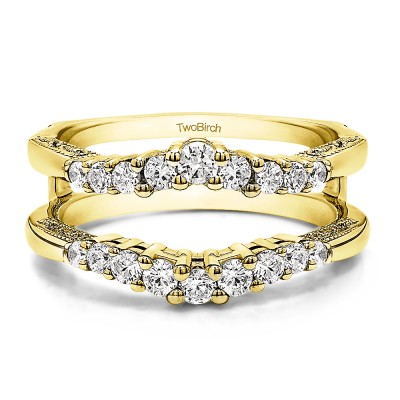 0.71 Ct. Vintage Ring Guard with Filigree Designs in Yellow Gold