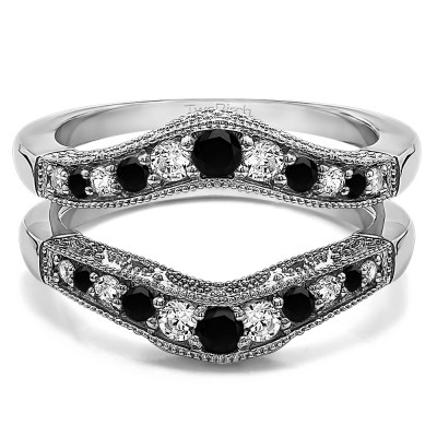 0.75 Ct. Black and White Stone Vintage Filigree and Milgrained Contour Ring Guard