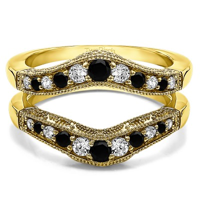 0.75 Ct. Black and White Stone Vintage Filigree and Milgrained Contour Ring Guard in Yellow Gold