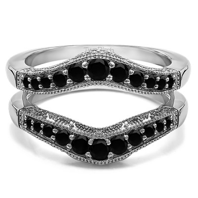 0.75 Ct. Black Stone Vintage Filigree and Milgrained Contour Ring Guard