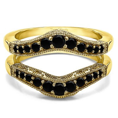 0.75 Ct. Black Stone Vintage Filigree and Milgrained Contour Ring Guard in Yellow Gold