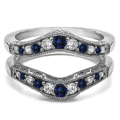 0.75 Ct. Sapphire and Diamond Vintage Filigree and Milgrained Contour Ring Guard