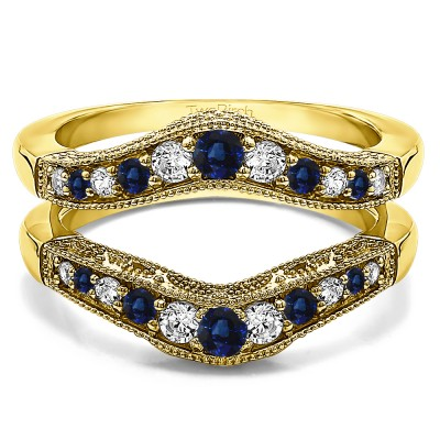 0.75 Ct. Sapphire and Diamond Vintage Filigree and Milgrained Contour Ring Guard in Yellow Gold