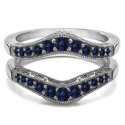 0.75 Ct. Sapphire Vintage Filigree and Milgrained Contour Ring Guard