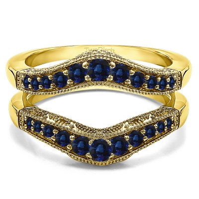0.75 Ct. Sapphire Vintage Filigree and Milgrained Contour Ring Guard in Yellow Gold