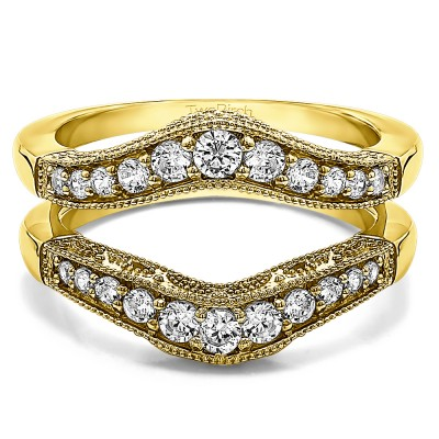0.75 Ct. Vintage Filigree and Milgrained Contour Ring Guard in Yellow Gold