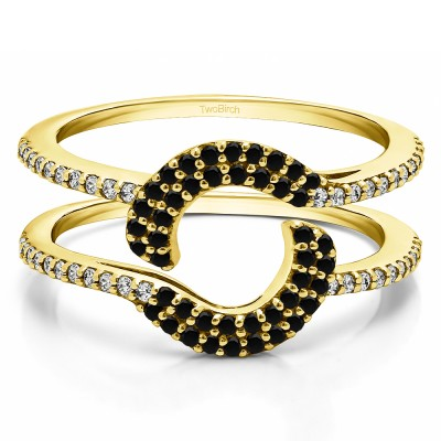 0.44 Ct. Black and White Stone Total Halo Wrap Enhancer in Yellow Gold