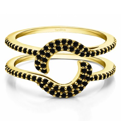 0.44 Ct. Black Stone Total Halo Wrap Enhancer in Yellow Gold