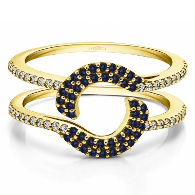 0.44 Ct. Sapphire and Diamond Total Halo Wrap Enhancer in Yellow Gold