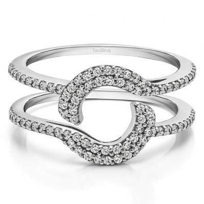 0.44 Ct. Total Halo Wrap Enhancer With Cubic Zirconia Mounted in Sterling Silver.(Size 6.5)