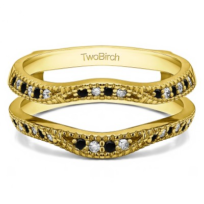 0.24 Ct. Black and White Stone Millgrained Edge Contour Ring Guard in Yellow Gold