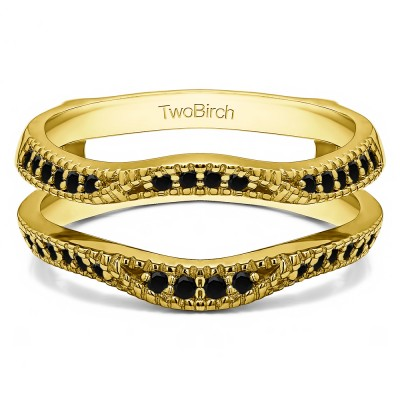 0.24 Ct. Black Stone Millgrained Edge Contour Ring Guard in Yellow Gold