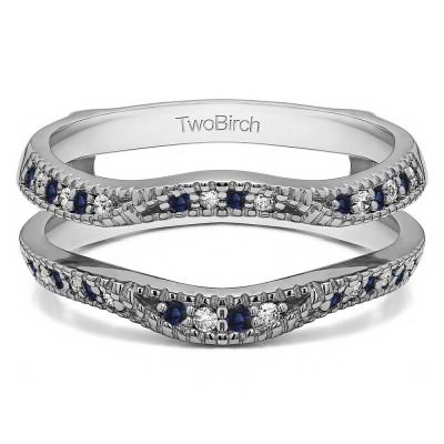 0.24 Ct. Sapphire and Diamond Millgrained Edge Contour Ring Guard