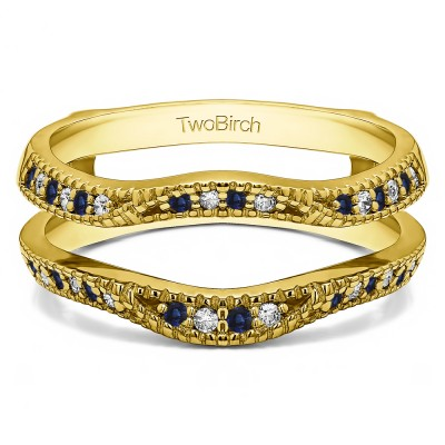 0.24 Ct. Sapphire and Diamond Millgrained Edge Contour Ring Guard in Yellow Gold